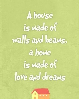 A home is made of love and dreams quote, living room art print, green wall art , gift for new home, love words familly. $15.00, via Etsy.