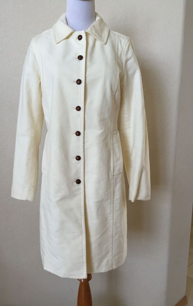 GAP Cream Ivory White Button Down Collared Womens Knee Length Coat Sz S    EUC! #GAP #BasicCoat