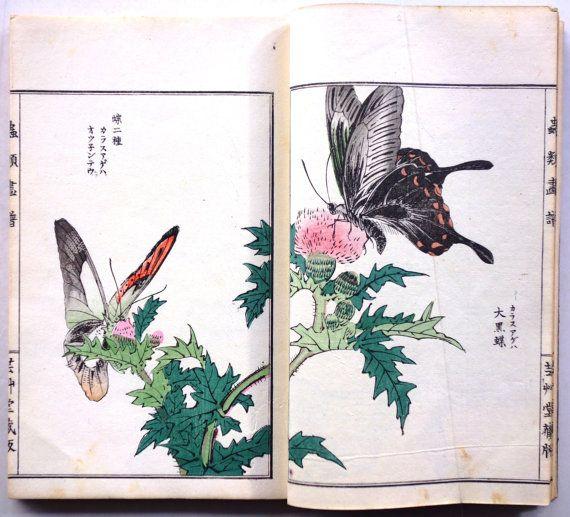 "Japanese vintage original woodblock print book, Morimoto Toko, ""Churui Gafu"""