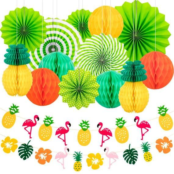 15 Pieces Summer Party Decoration Set Hanging Paper Fans Pineapple Flamingo Flower Garland Banner fo