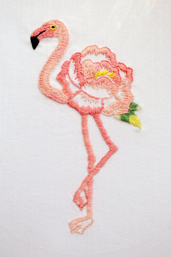 Flamingo, Embroidery pattern, Embroidery Art, Tropical, Floral, flamingo hand embroidery, modern nursery - Floralmingo  Pink Flamingo is a symbol of grace, elegance, exquisite romantic love, the strength of family life and emotional balance.  By creating this design I was inspired by Japanese embroidery.  FINISHED SIZE: approx 6x3.5 (15 cm x 9 cm).  Hand Embroidery can seem daunting for beginners, but is perfect for improving the skills of embroidery. I suggest detailed scheme of embroidery…