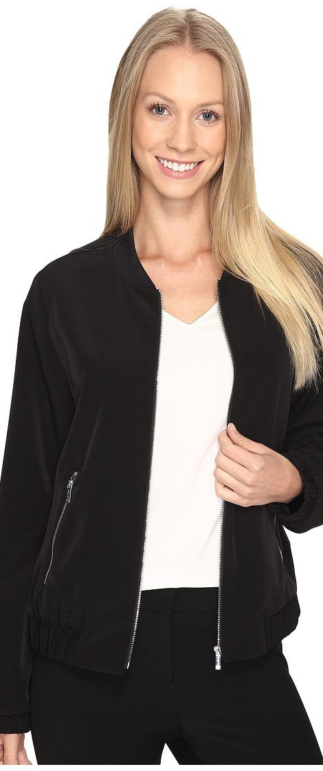 Calvin Klein Solid Bomber Jacket (Black) Women's Coat - Calvin Klein, Solid Bomber Jacket, M7AC2140-001, Apparel Top Coat, Coat, Top, Apparel, Clothes Clothing, Gift - Outfit Ideas And Street Style 2017