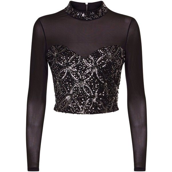 Black Mesh Sequin Embellished Crop Top ($42) ❤ liked on Polyvore featuring tops, cut-out crop tops, sequin tops, mesh crop top, crop tops and sequined top