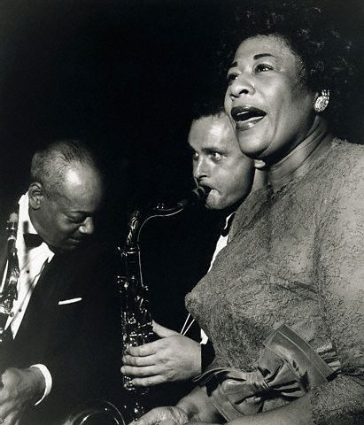"""COLEMAN HAWKINS, STAN GETZ and ELLA FITZGERALD. Photo by Terry Cryer. """