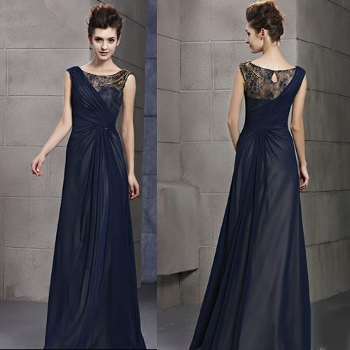 Midnight Blue Sleeveless Formal Evening Gowns Special Occasion Dresses SKU-122635, recital gown
