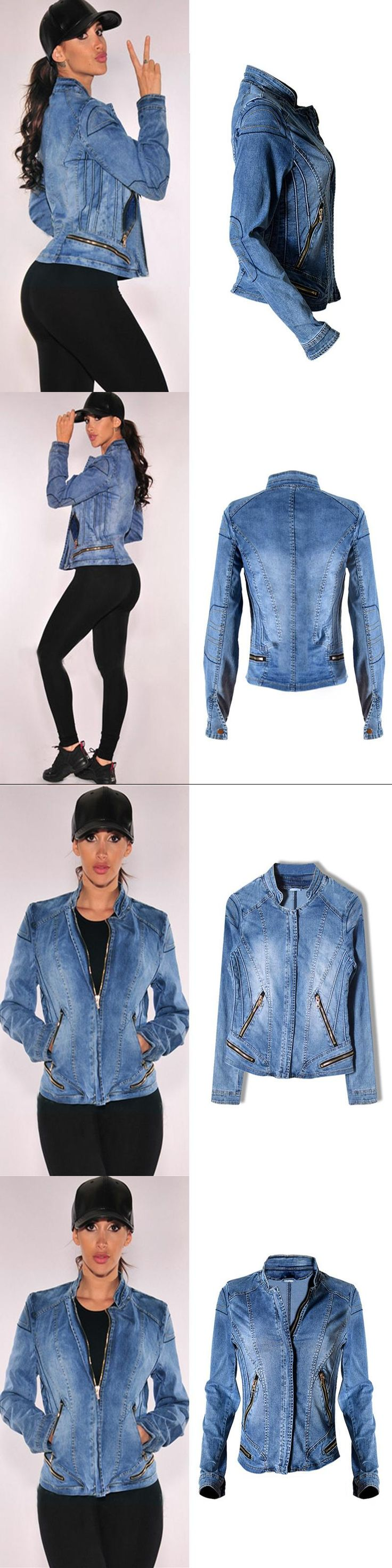 2017 New Hot Sale Popular Women Baseball Jackets Stretch Denim Jacket Multi-zipper Short Motor Style Chaqueta Female Denim Coats