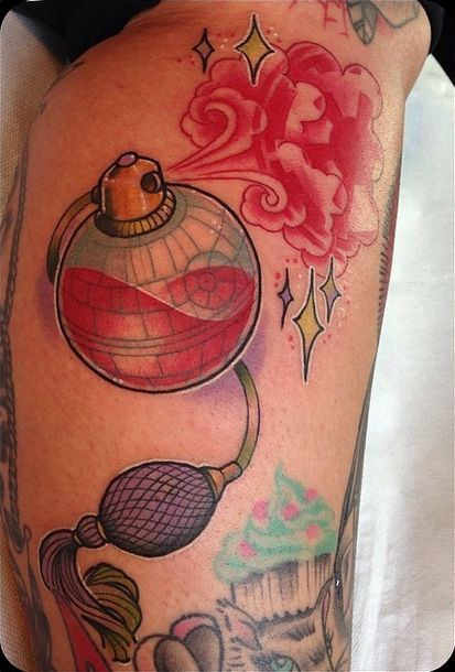 Death Star perfume bottle tattoo                                                                                                                                                      More
