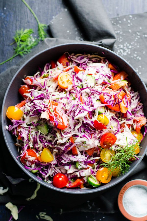 Ukrainian Dill Coleslaw - Vegan coleslaw recipe with cucumbers, tomatoes, bell peppers, dill and simple spices. My Ukrainian mom's recipe that everyone will love. | ifoodreal.com