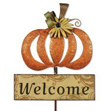 harvest pumpkin garden stake welcome sign by garden fun 1899 our charming harvest - Halloween Garden Stakes
