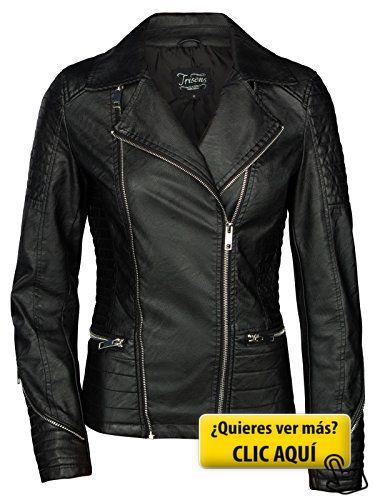 TRISENS Mujer Chaqueta de cuero Biker corta Moto... #chaqueta