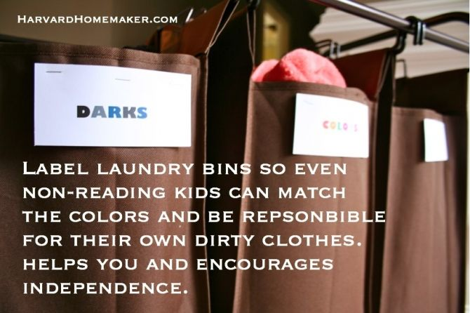 Label laundry bins so kids know how to sort their own dirty clothes.  If they know their colors, they can do this--and they think it's fun!  More than 100 other organizational ideas in this post--this is just one tip!  #organize #harvardhomemaker