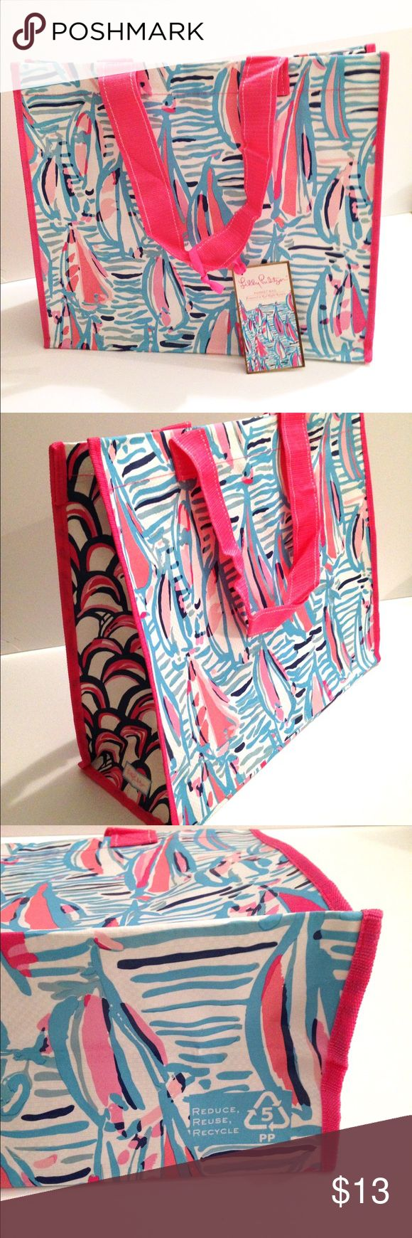 Lilly Pulitzer Red Right Return Market Bag Be eco friendly with this adorable recyclable bag. Perfect for taking to the grocery store, or to any store that charges for plastic bags. Including the straps the height of the bag is 17 inches. The heights of the bag itself is 14 1/2 inches. The depth is 7 5/8 inches. The material is laminated woven polypropylene, very strong and sturdy material. Price is firm. Lilly Pulitzer Bags Totes