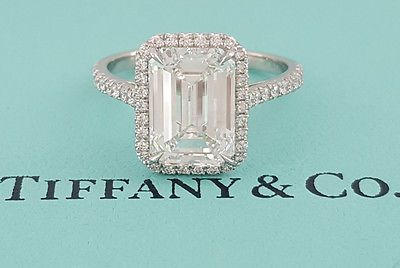 Tiffany & Co. 3.36 ct Soleste Platinum Emerald Cut Diamond Halo Engagement…