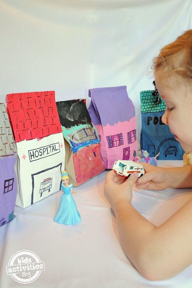 Super simple craft -  Make a Pretend City with Paper Bags