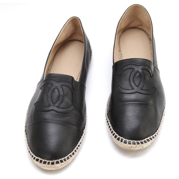 Chanel Men's Black Lambskin Leather Espadrilles Moccasin Loafer Shoe... ❤ liked on Polyvore featuring men's fashion, men's shoes, men's loafers, mens black loafers shoes, mens cap toe shoes, mens loafers, mens round toe shoes and mens woven loafer shoes