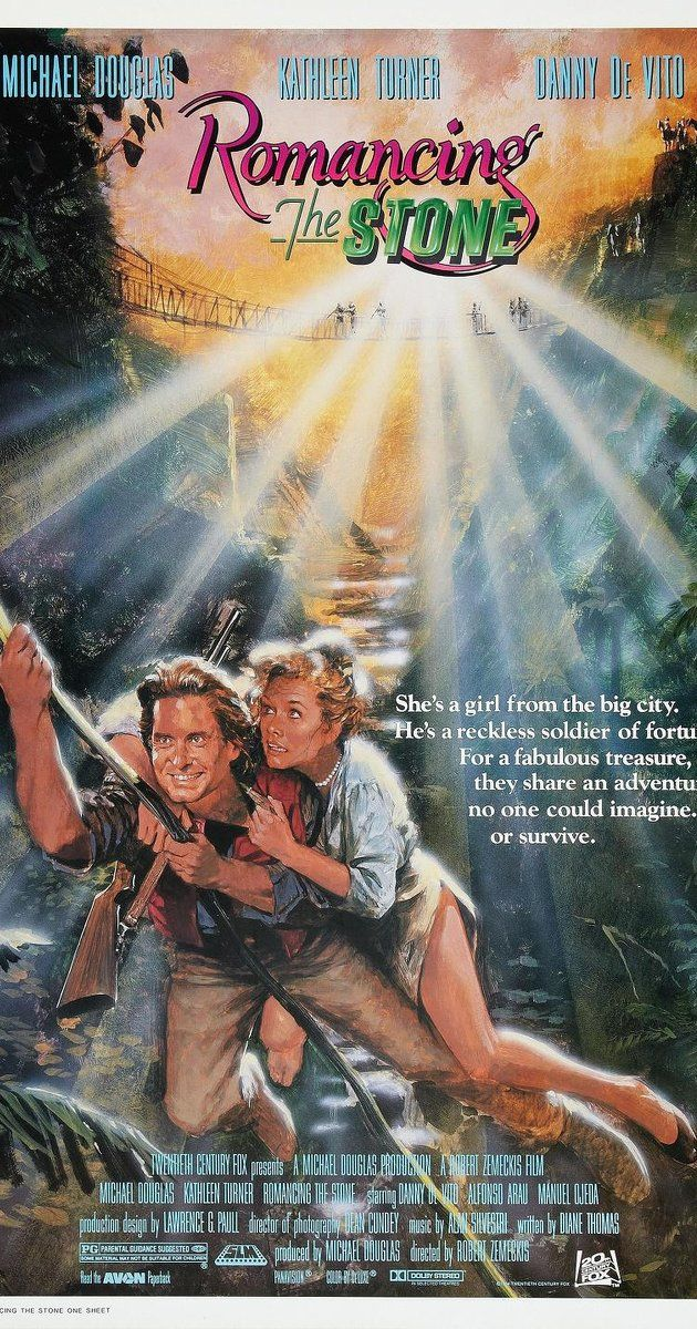 Romancing the Stone. Directed by Robert Zemeckis.  With Michael Douglas, Kathleen Turner, Danny DeVito, Zack Norman. A romance writer sets off to Colombia to ransom her kidnapped sister, and soon finds herself in the middle of a dangerous adventure.