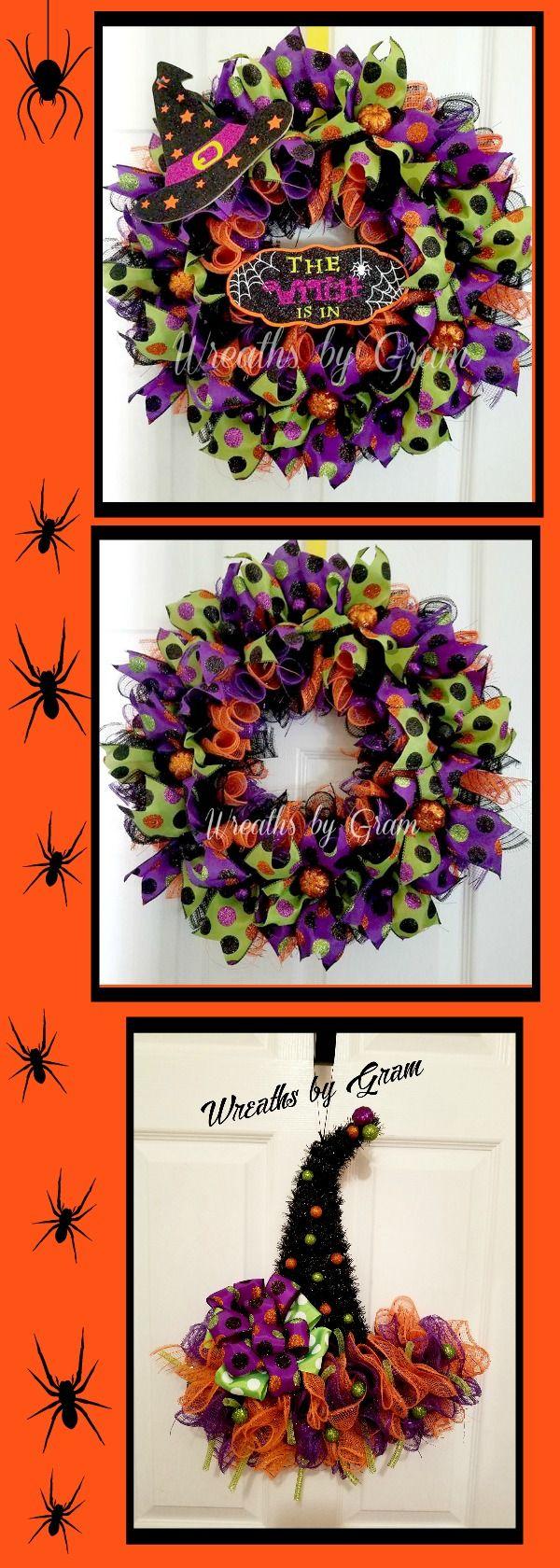 Witch Hat Wreath | Witches Hat Door Hanger | Halloween Decor | Halloween Wreath | Mesh Witch Hat | Whimsical Decor | Front Door Wreath | Witch Hat Decorations | Witch's Hat | HALLOWEEN DECORATIONS; HALLOWEEN PARTY; HALLOWEEN WREATHS FOR FRONT DOOR; HALLOWEEN WREATH IDEAS; FALL WREATHS; AUTUMN WREATHS; HOLIDAY WREATHS; HALLOWEEN GIFTS; HALLOWEEN IDEAS; HALLOWEEN WREATH; HALLOWEEN PUMPKINS; HALLOWEEN DECORATING; HALLOWEEN DECOR