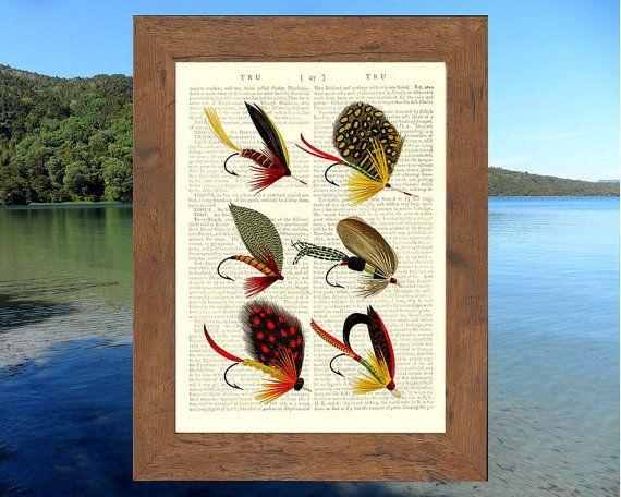 Vintage Salmon Fishing Flies. Art print on by VintageTextArt, $10.00