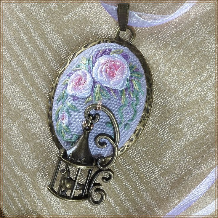 Embroidered pendant. Silk ribbon embroidery.