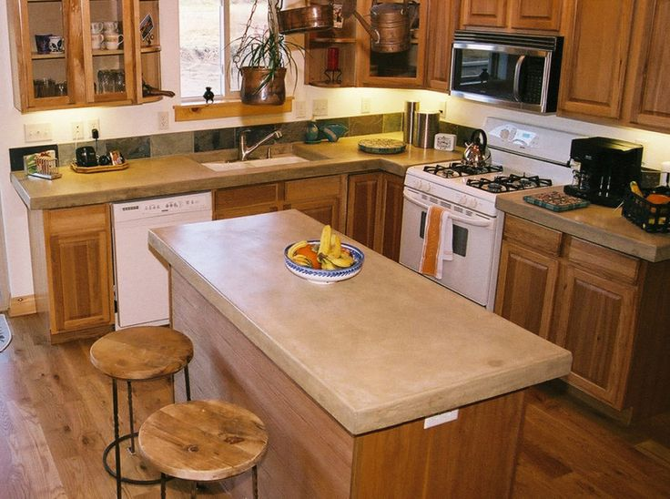 10 Interesting DIY Concrete Countertops : Fascinating DIY Concrete Countertops With Wooden Kitchen Stools