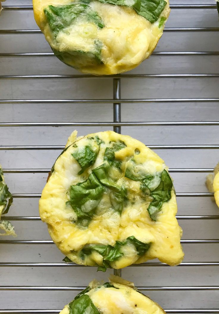 To make mini frittatas simply pour eggs whisked with spinach and cheese into a cupcake pan cup and bake!