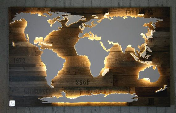 Handmade, unique world map with illumination and 3D-effect in Vintage-style! The Americas, Africa, Eurasia and the Antarctic are placed slightly higher and are lighted from below by a subtle LED lighting effect. Smaller islands are placed slightly lower and are illuminated in an indirect