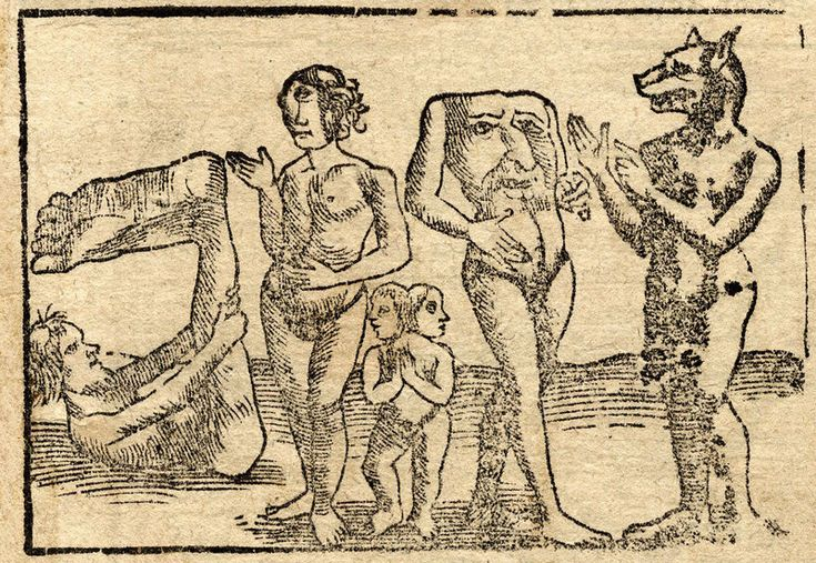 A smattering of beings described as monstrous in medieval times, including a blemmye (second from right).