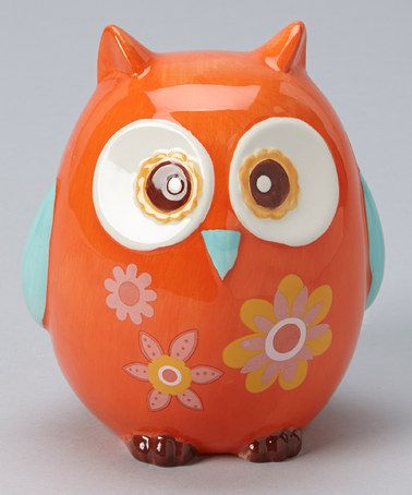 Take a look at this Orange Flower Owl Bank by GANZ on #zulily today!