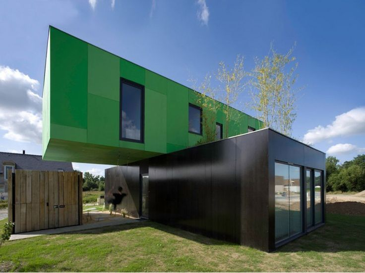 House made from shipping containers, Brittany, France