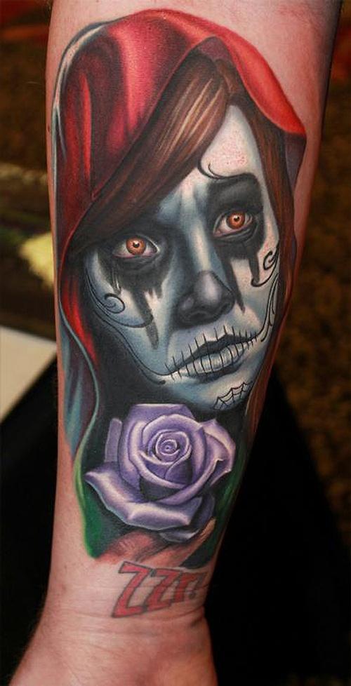 La Catrina girl with purple rose tattoo