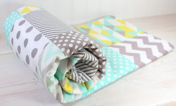 Baby Blanket, Unisex Baby Blanket, Gender Neutral Crib Bedding, Boy Nusery Decor, Girl Blanket, Mint Green, Yellow and Gray Chevron Dots