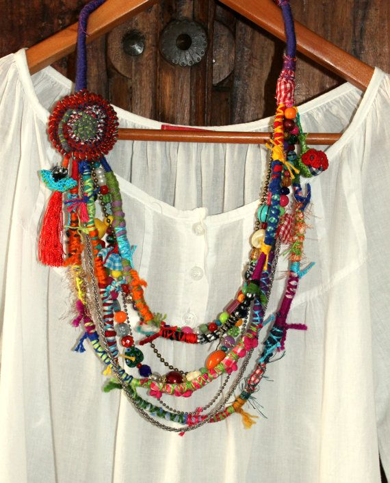 Sweet Crazy II. Fiber beads colorful multi strand by GataValquiria