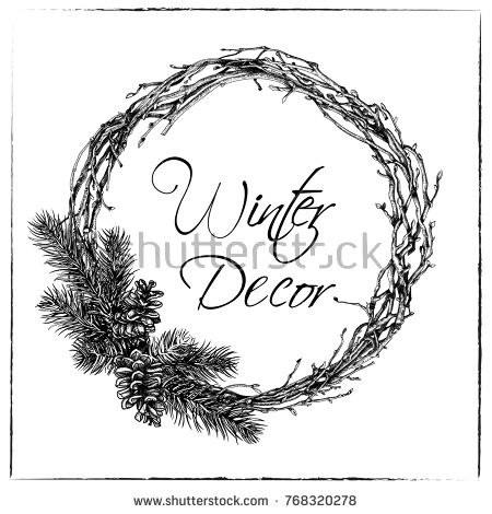 Drawings Of Christmas Wreaths.Pin On Pine Wreath