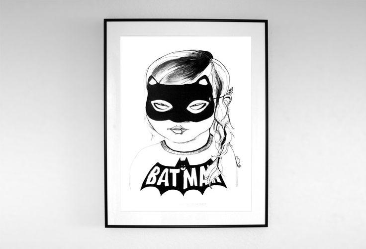 MASKED POSTER: Girls, Picture-Black Posters, Minis Dog Qu, Illustration, Art Prints, Masks Posters, Batgirl, Products, Kids Rooms