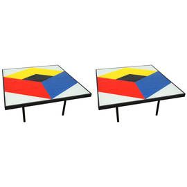 pair of reverse painted glass coffee tables midcentury modern glass