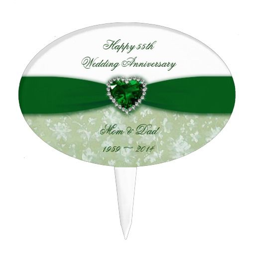 Damask 55th Wedding Anniversary Cake Topper Love