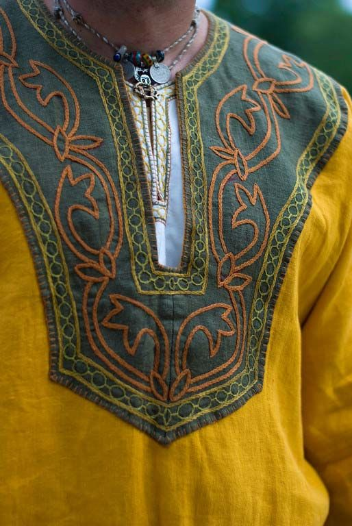 Large embroidered yoke--Early Norman tunic from Loki's Locker - the motif is acanthus leaves.