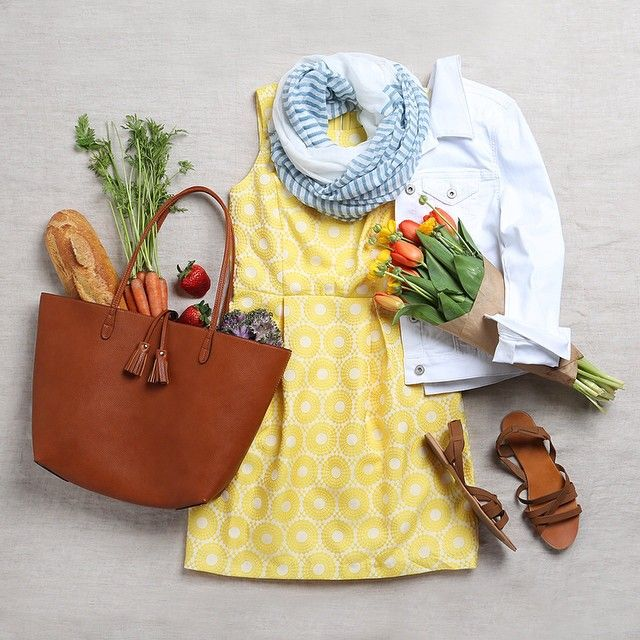 "stitchfix: ""The perfect Saturday shopping ensemble for spring! Bright and cheery with a roomy tote for all your farmer's market finds. (Kammi Embroidered Dress)"""
