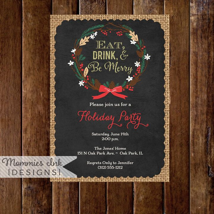 free ecard christmas party invitations%0A Winter Pinecone Wreath Chalkboard Holiday Party Invitation  Gold Glitter  Invitation  Eat Drink Be Merry