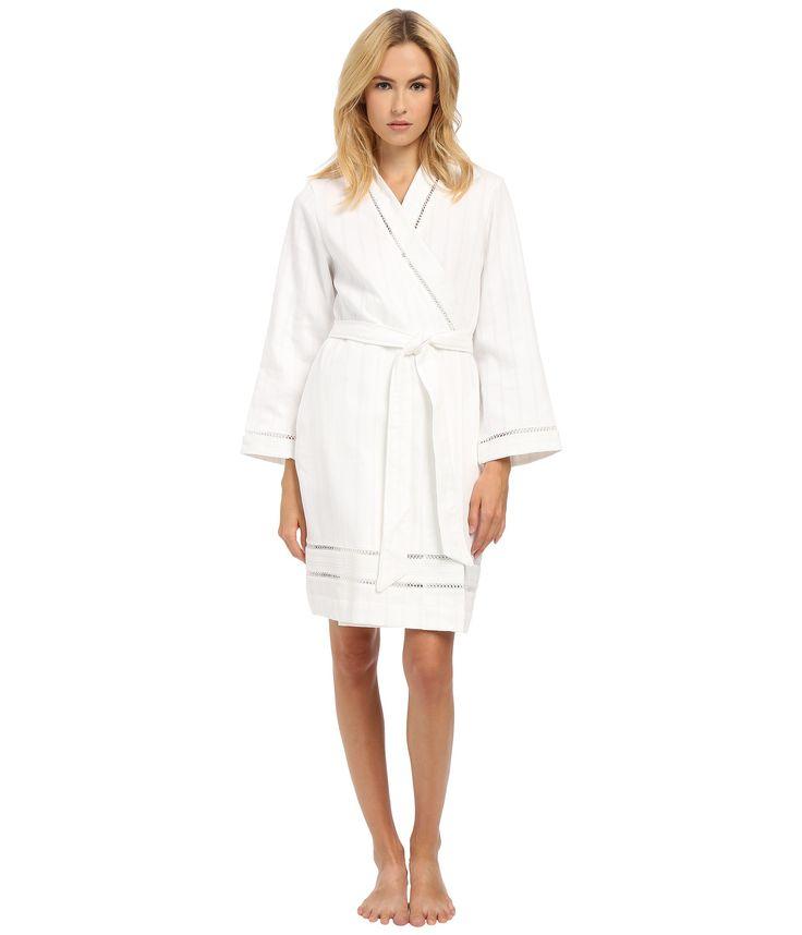 White Spa Brushed Cotton Stripe Waffle Short Robe   Fashideas.com