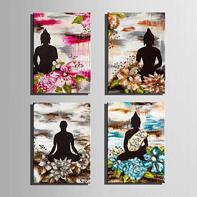 Canvas Set Ihmiset / Kukkakuvio/Kasvitiede European Style,4 paneeli Kanvas Pystysuora Tulosta Art Wall Decor For Kodinsisustus 5330017 2017 – hintaan €43.11