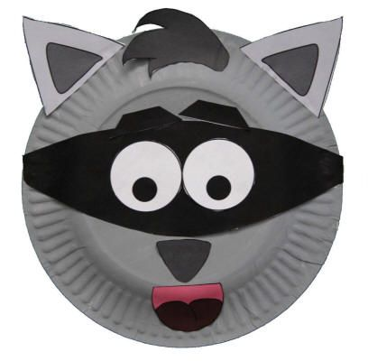 paper plate raccoon craft