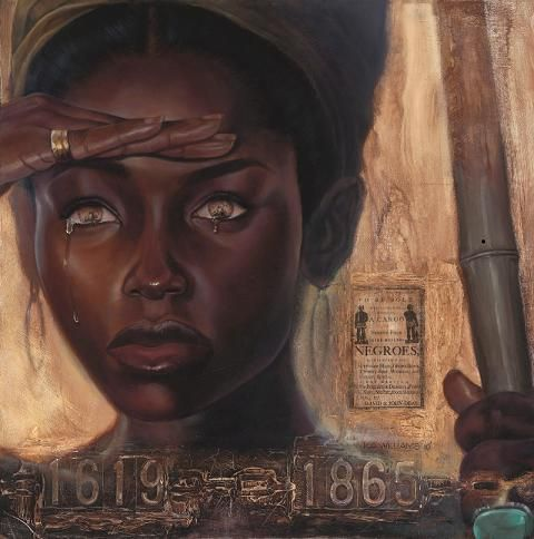 The work Sight, by WAK (Keven Anthony Williams) Vingette a Majestic African queen peers out into the Trans Atlantic Ocean, Her pupils are slave ships.