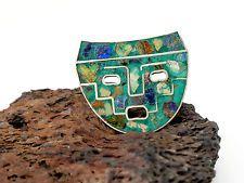 De Colección De Plata De Ley Piedra Con Incrustaciones De Taxco Mascarilla Pin Broche