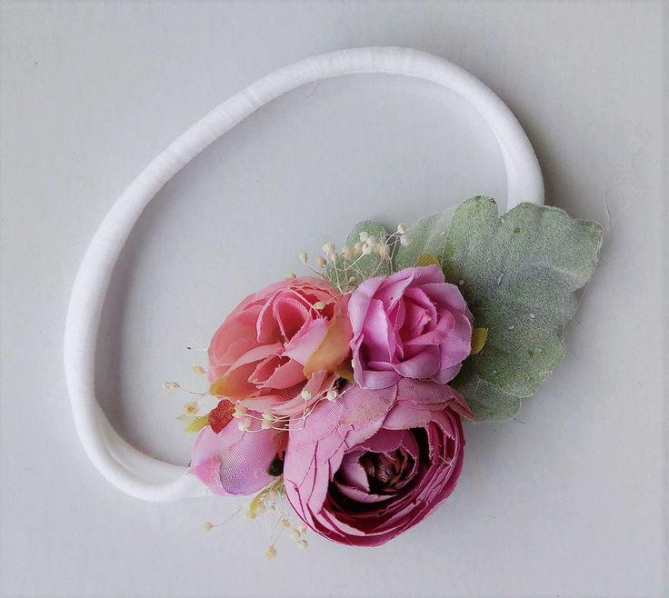 baby headband - Pink Floral Stretch headband