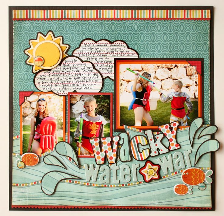 .What a cute idea for scrapping a watery group of pictures. Will have to do this for the grandkids.