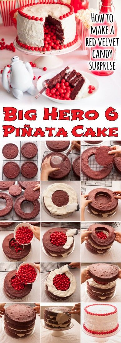 This red velvet candy surprise piñata cake is a party-pleaser for kids and parents alike. Inspired by Disney's Big Hero 6