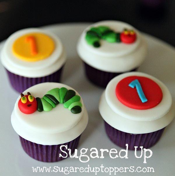 Adorable Very Hungry Caterpillar cupcakes