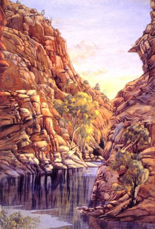 The Finke River Gorge at Entrance to Glen Helen by Albert Namatjira