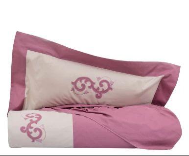 Parure copripiumino in cotone Floriane rosa antico/sabbia, singolo